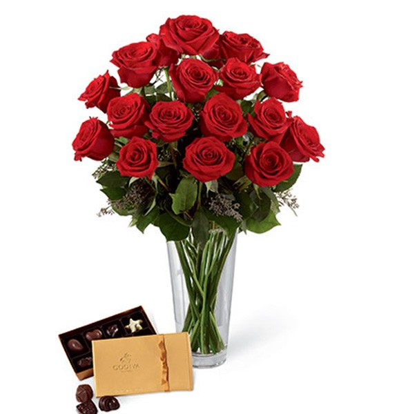 12 Red Roses with 200g Godiva Chocolates