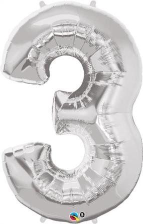 Silver Number Shaped 3