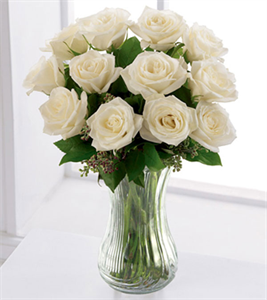 12 Pure White Roses