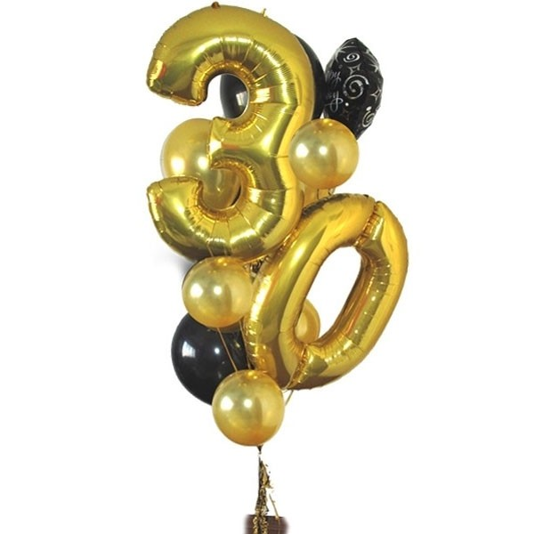 Any Age Birthday Balloon Arrangement GOLD