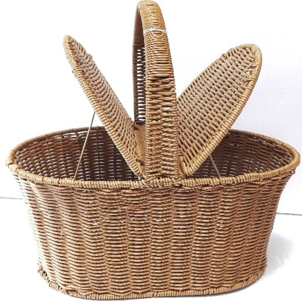 Plastic Coated Wire Woven Picnic Basket 02   x 4 pieces